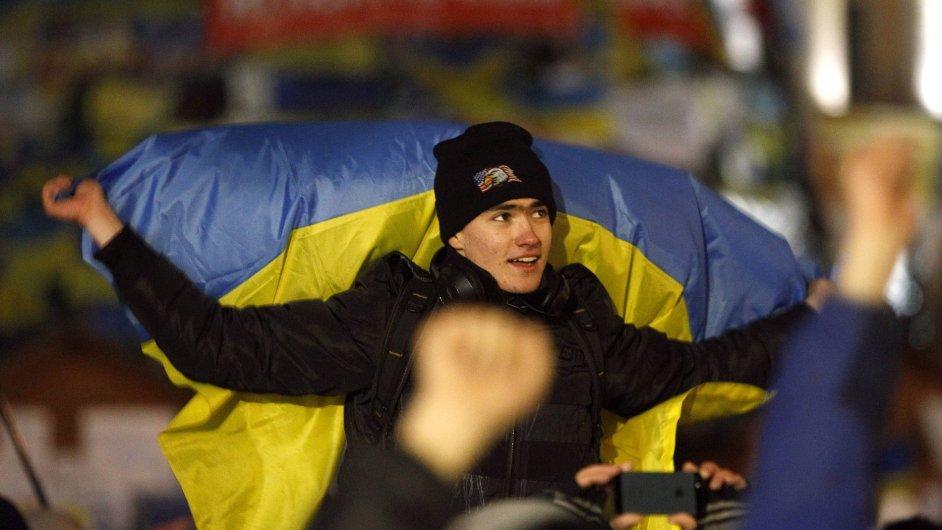 Nedělní protesty na kyjevském náměstí Nezávislosti