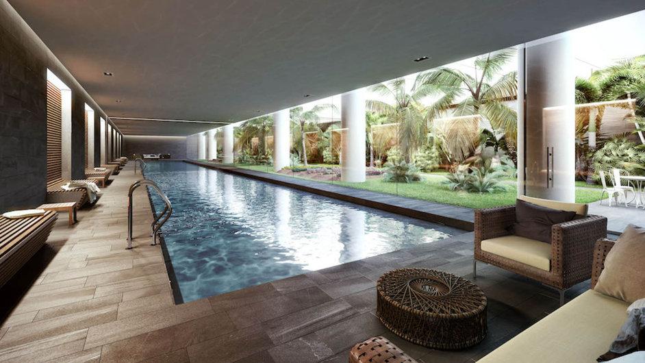 Bazén a zahrada využívající umělé osvětlení.