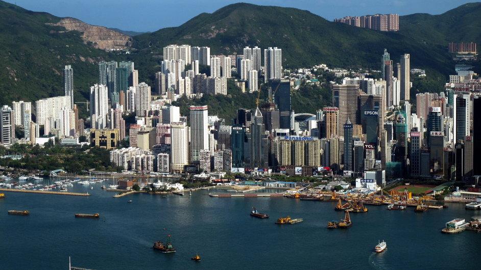 Pohled na Causeway Bay v Hongkongu