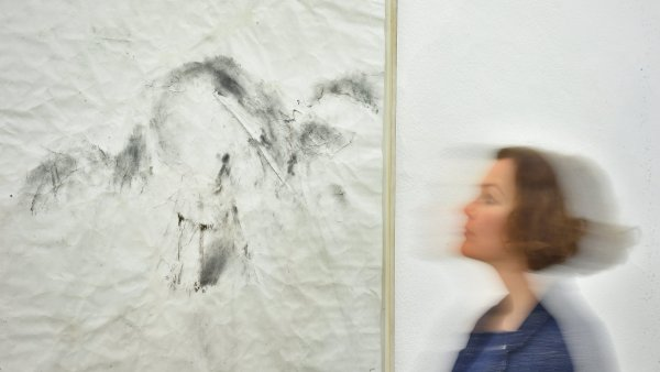 Na snímku z výstavy děl Adrieny Šimotové v českobudějovickém Domě umění je kresba Grafitový anděl z roku 2010.