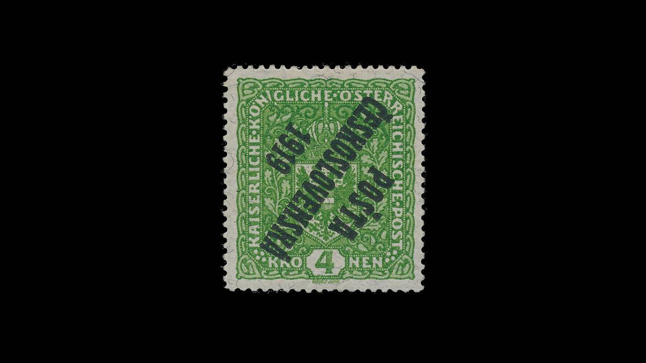 Nejvzácnější československá známka: Pošta československá 1919. Unikát známý pouze vjednom exempláři.