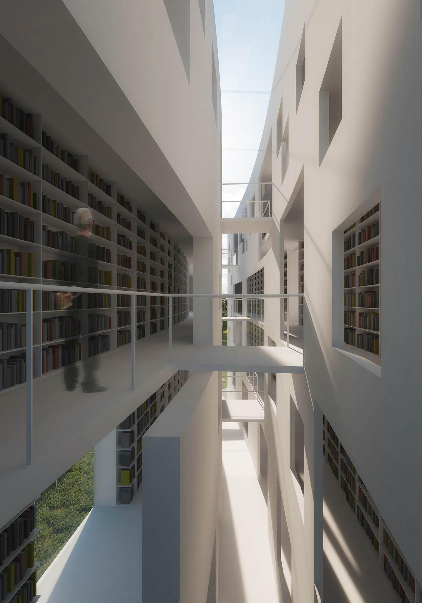 Architekti z A 69 navrhli pro Turnov budovu – skálu, v níž je vytesána knihovna. Když člověk vstupuje, jako kdyby procházel mezi skalními věžemi, středová puklina je parafrází na tamní soutěsky...