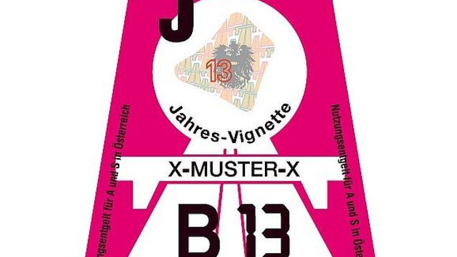 Rakouská dálniční známka pro rok 2013