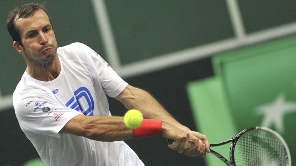 Radek Štěpánek před zápasem 1. kola Davisova poháru proti Nizozemsku