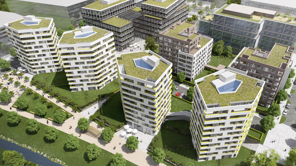 Rohan City. První dva obytné dvojdomy, které plánuje Sekyra Group na pražském Rohanském ostrově postavit, budou mít dohromady 220 bytů.