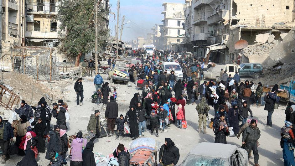 Aleppo, Sýrie, evakuace.