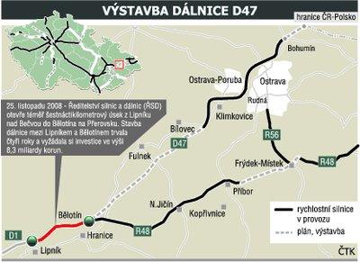 Mapa dálnice D1 - úsek D47