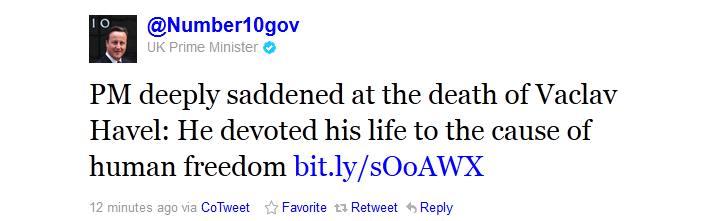 David Cameron je zdrcen smrtí Václava Havla