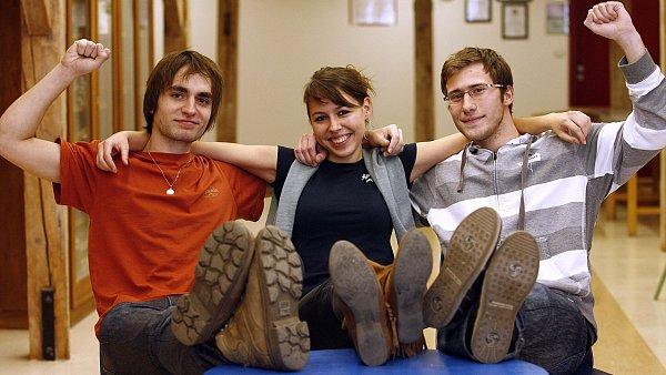 Vítězové soutěže o nejlepší studentský startup, Jan Moskalyk, Zuzana Střížová a David Vostřák