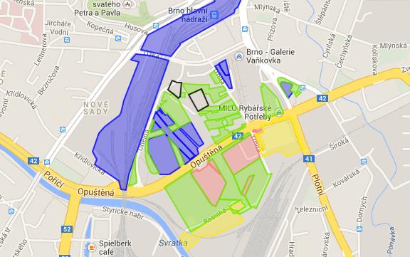 Mapa vlastníků pozemků v Jižním centru
