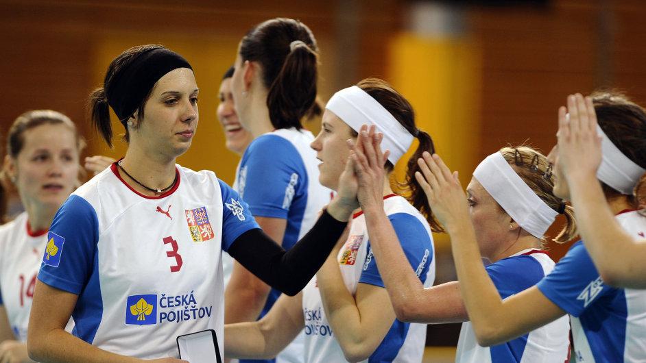 České florbalistky na domácím mistrovství světa 2013