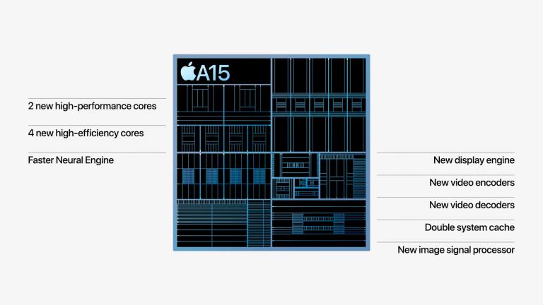 Nový čip vzniká 5nm procesem a obsahuje 15 miliard tranzistorů, Apple ale neřekl, o kolik je rychlejší než loňský čip A14