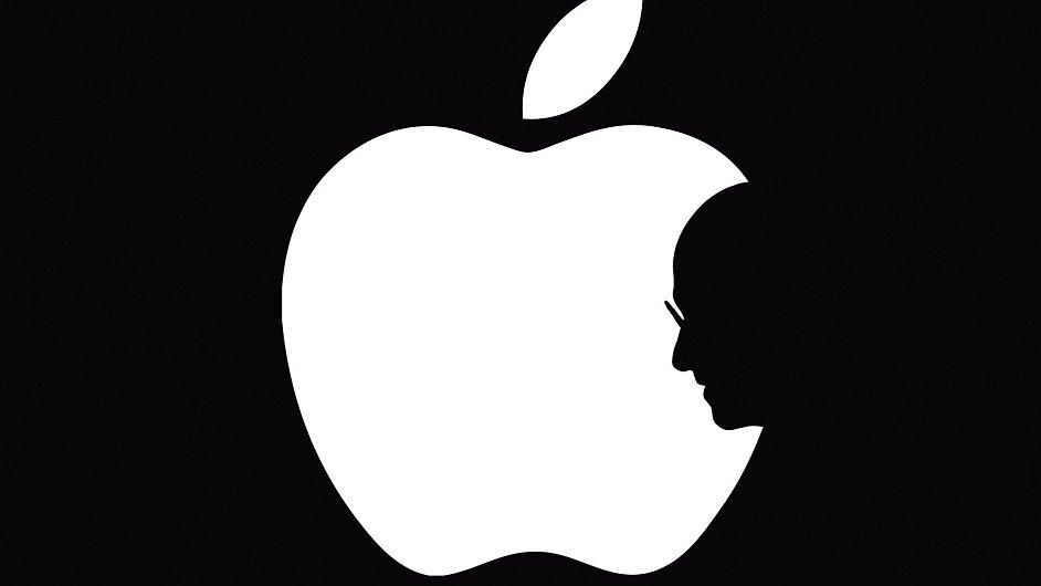 Logo firmy Apple se siluetou jejího spoluzakladatele Steva Jobse, který zemřel 5. října 2011.