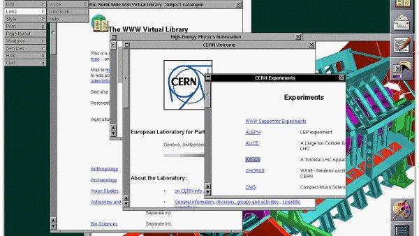 Screenshot první webové stránky na počítači NeXT