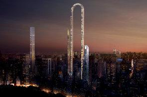 Nejdelší budova světa by měla měřit více než kilometr. Studio Oiio navrhlo pro New York obloukový mrakodrap