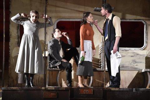 Na snímku je zkouška inscenace Želary (srdce mé) v brněnském Národním divadle.