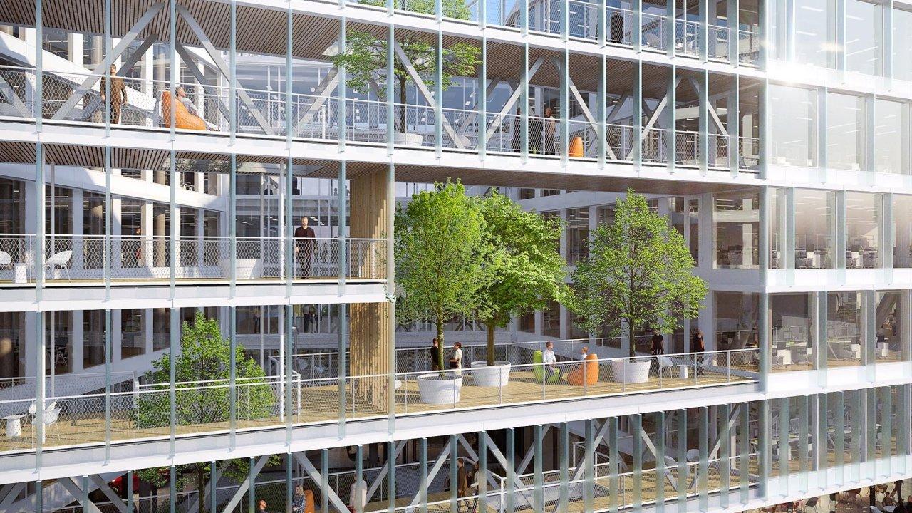 Visionary je jedinou kancelářskou budovou, která se momentálně staví vPraze-Holešovicích.