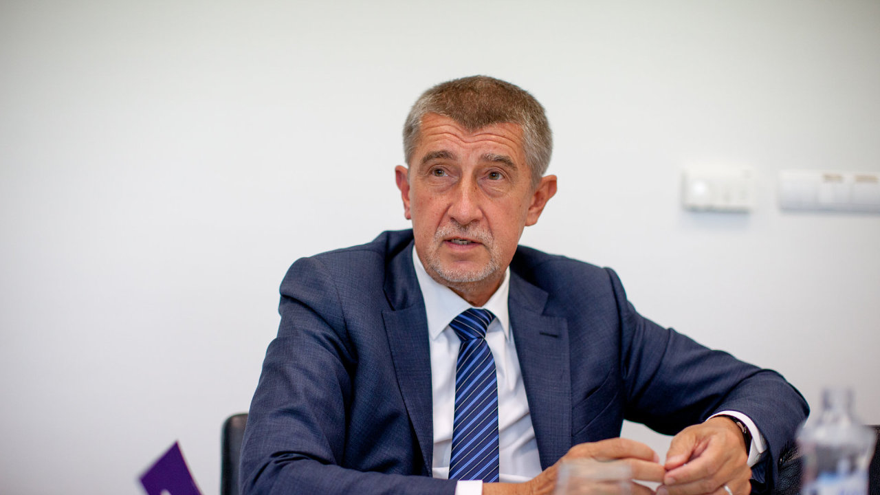 Andrej Babiš v sídle ANO.