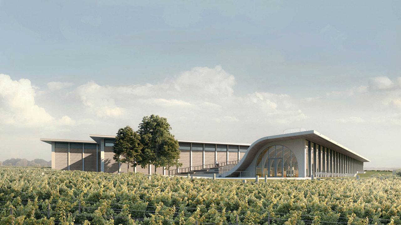 NaZnojemsku finišuje výstavba reprezentativního centra vinařství Lahofer odarchitektonického studia Chybik + Kristof.
