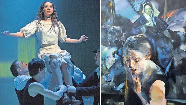 Vlevo here�ka Andrea B�ezinov� v muzik�lu Div� B�ra, vpravo obraz Pavla Va���ka nazvan� T�pytivost samoty.