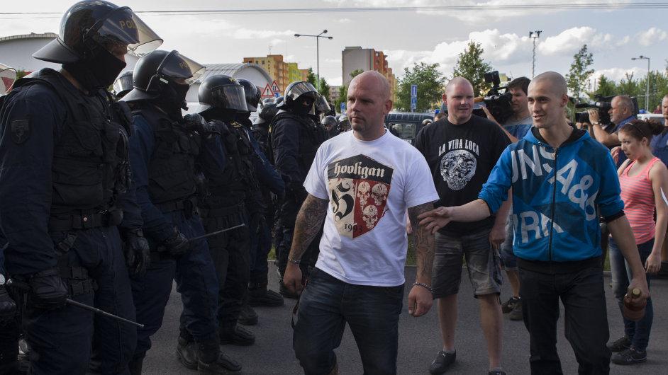 Demonstrace na sídlišti Máj v Českých Budějovicích