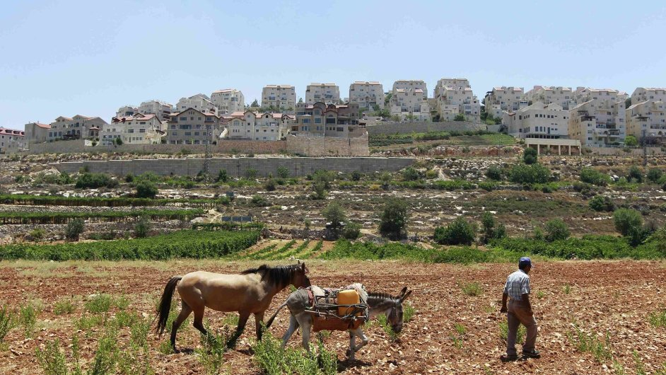 Palestinec u židovské osady na Západním břehu