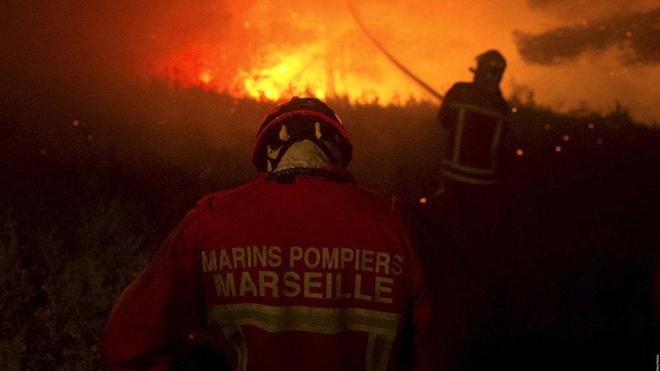 Lesní požár poblíž Marseille