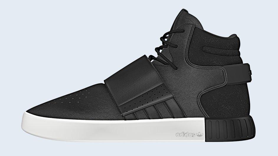 Styl 90. let se těší velkému zájmu designérů, ato iusportovní obuvi. Důkazem jsou černé kotníkové tenisky Tubular zpodzimní kolekce ADIDAS. Cena 2999 Kč.