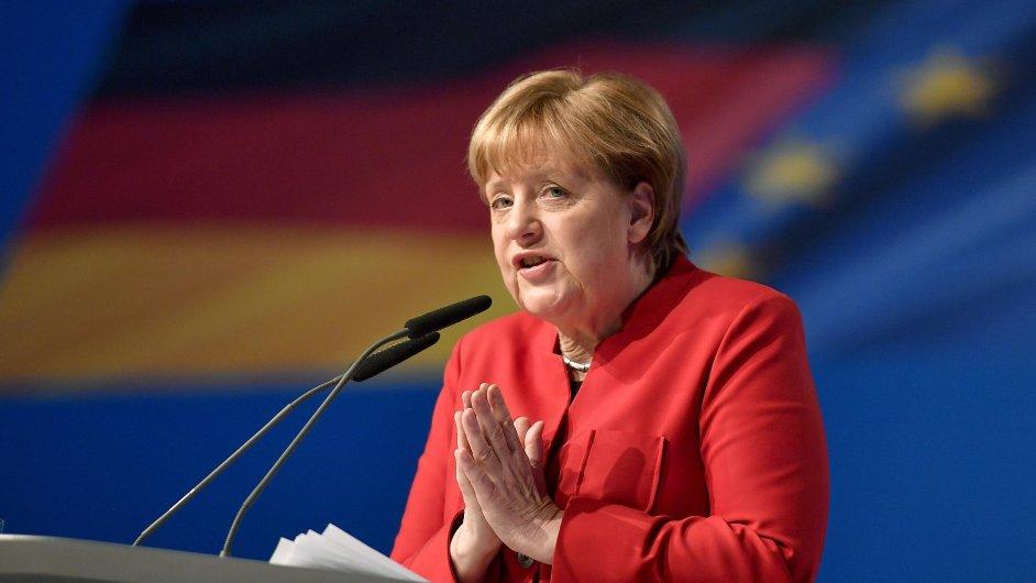 Německá kancléřka Angela Merkelová na sjezdu CDU v Essenu.