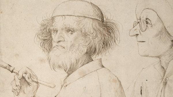 """Perokresba Malíř a kupec z roku 1565 je asi nejvážnějším námětem """"šibala"""" Bruegela."""