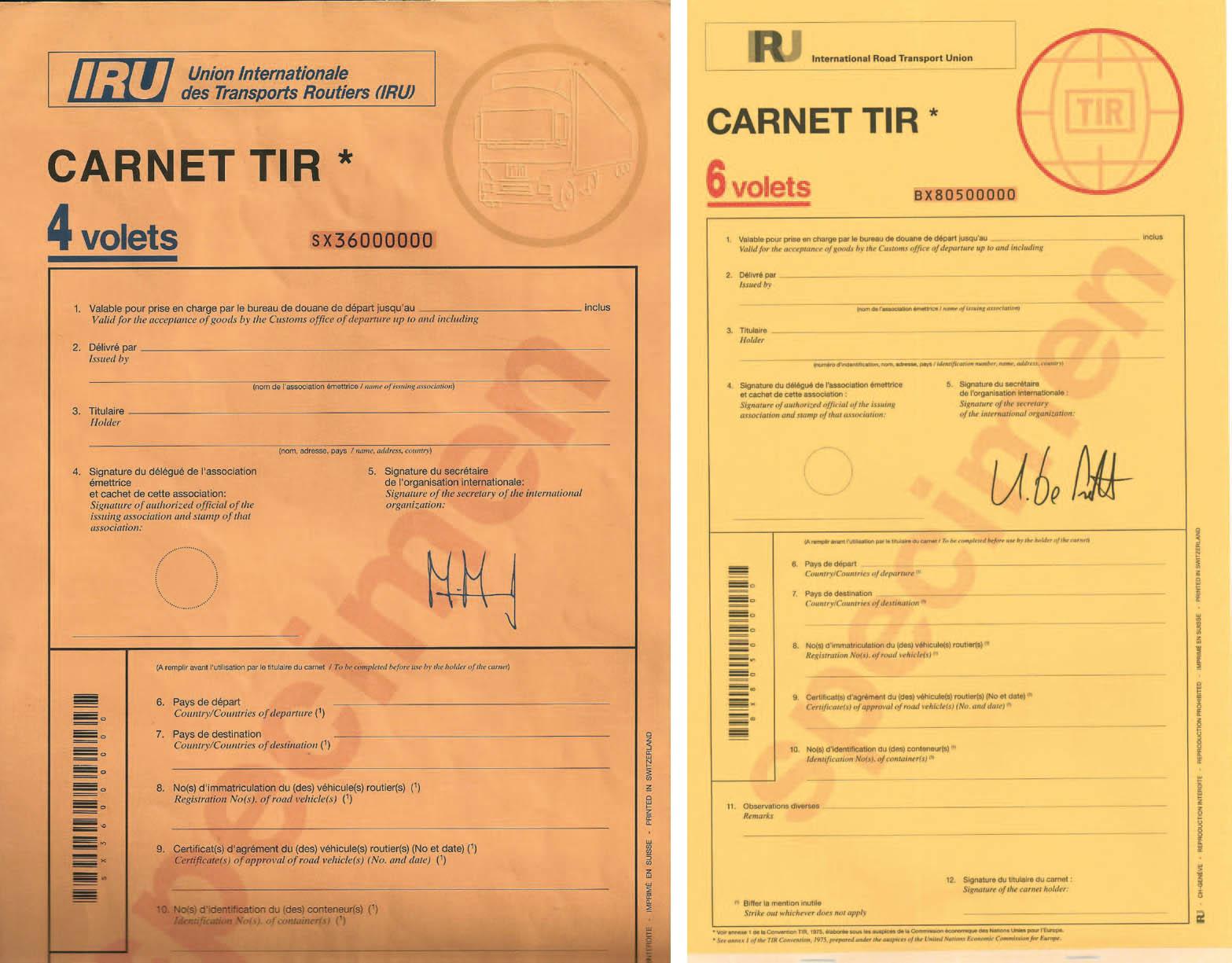Původní verze karnetu TIR (vlevo) a nový karnet TIR platný od roku 2016