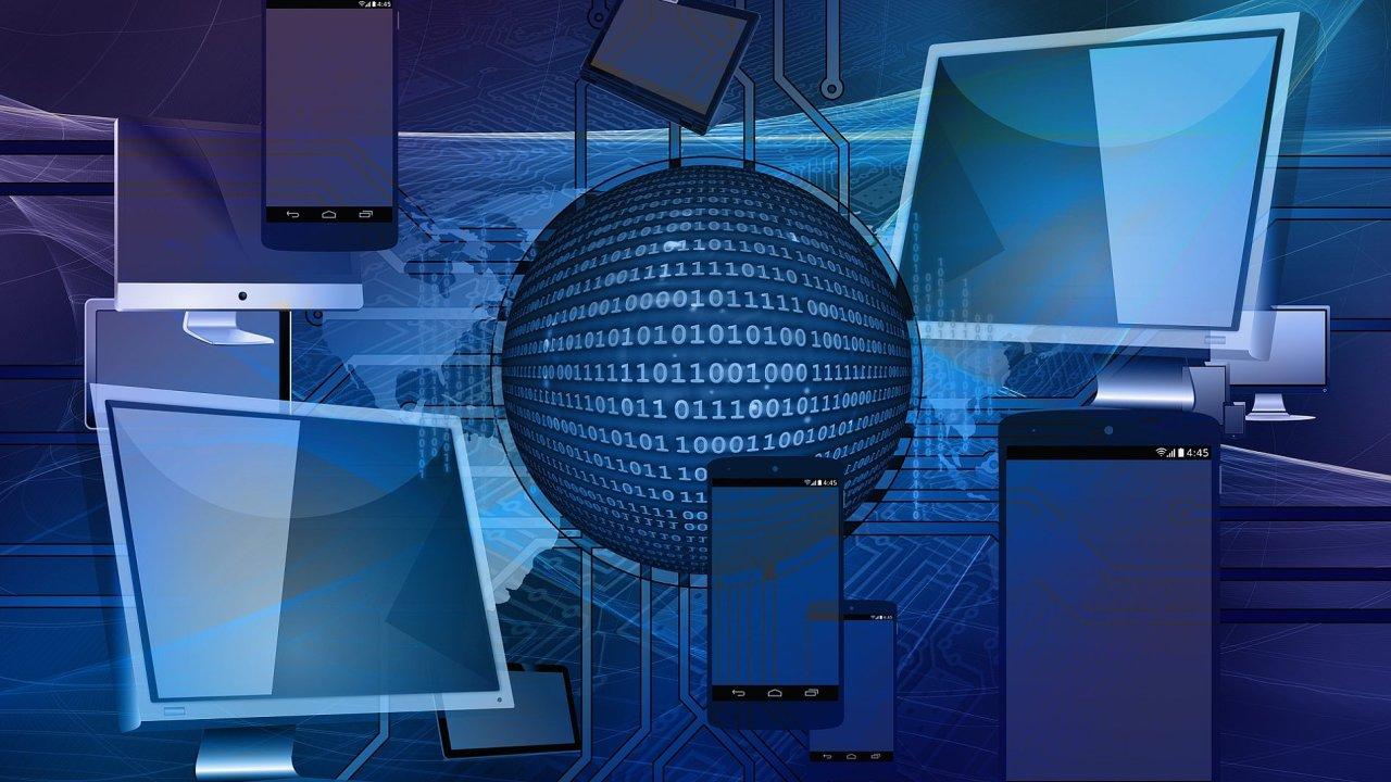 Smart technologie, cloud, umělá inteligence, ilustrace