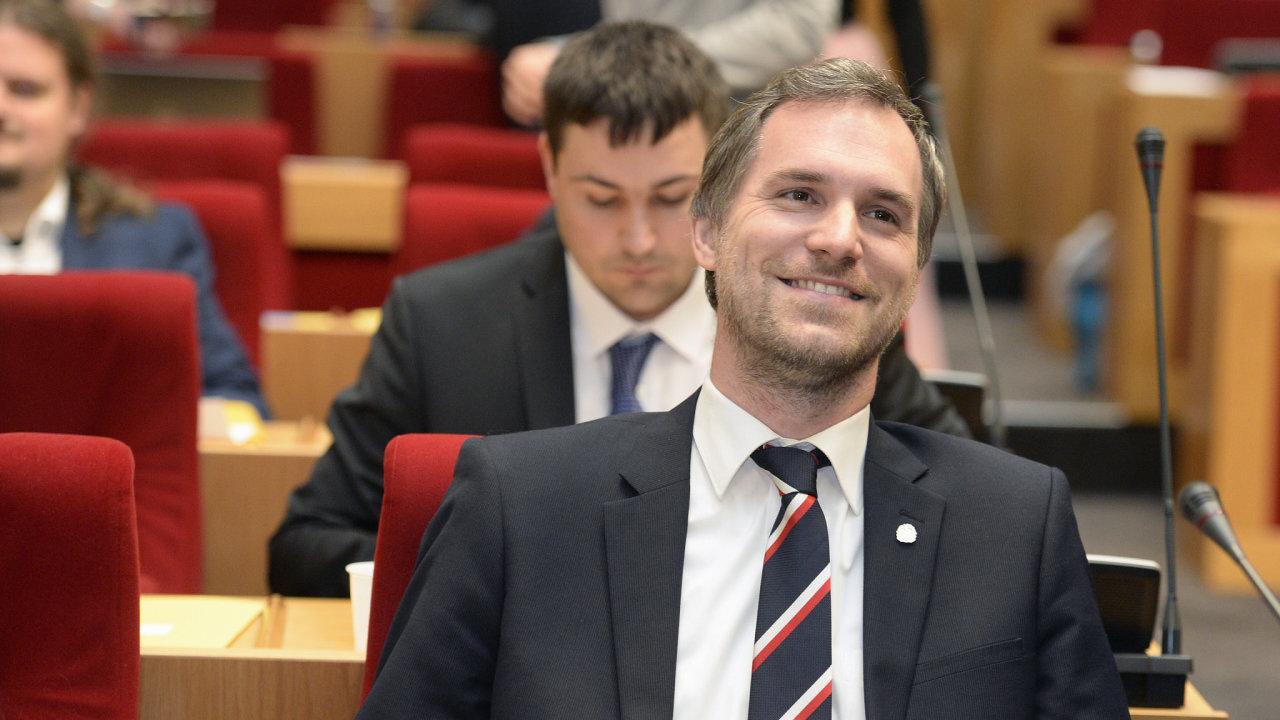 Zdeněk Hřib na ustavující schůzi zastupitelstva.