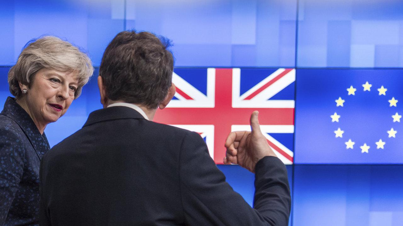 Theresa Mayová během hovoru s předsedou Evropské rady Donaldem Tuskem.