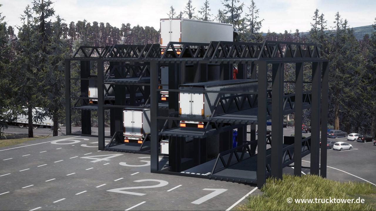 Vizualizace parkovací věže pro kamiony Truck Tower.