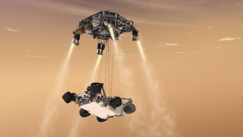 Vozítko Curiosity se spouští na Mars - vizualizace