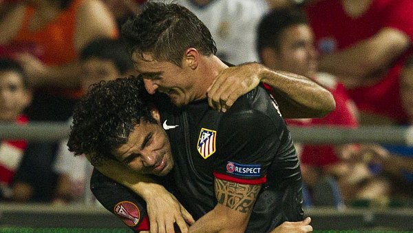 Diego Costa (vlevo) a Cristian Rodríguez