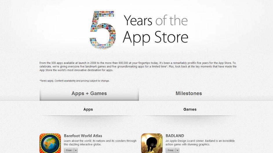 Apple slaví 5 let obchodu App Store