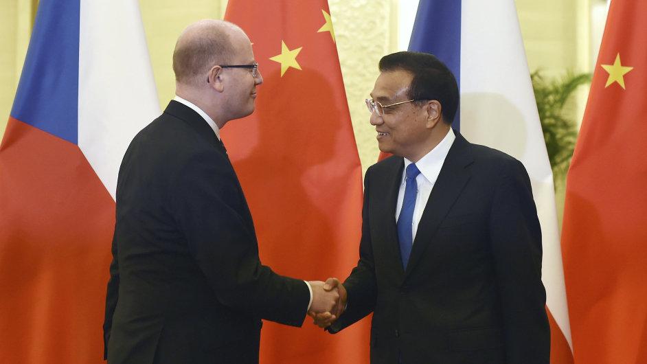Bohuslav Sobotka s čínským premiérem Li Kche-čchiangem.