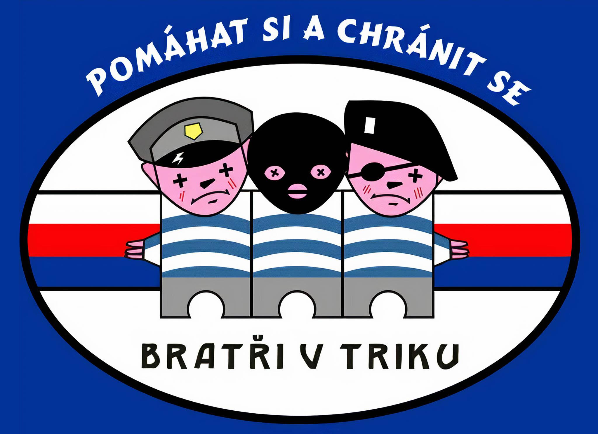 Veselí policisté. Logo občanského sdružení, pojmenovaného Bratři vtriku, pro bývalé členy bezpečnostních složek ilustruje, jak asi jeho členové svou práci pojímali.
