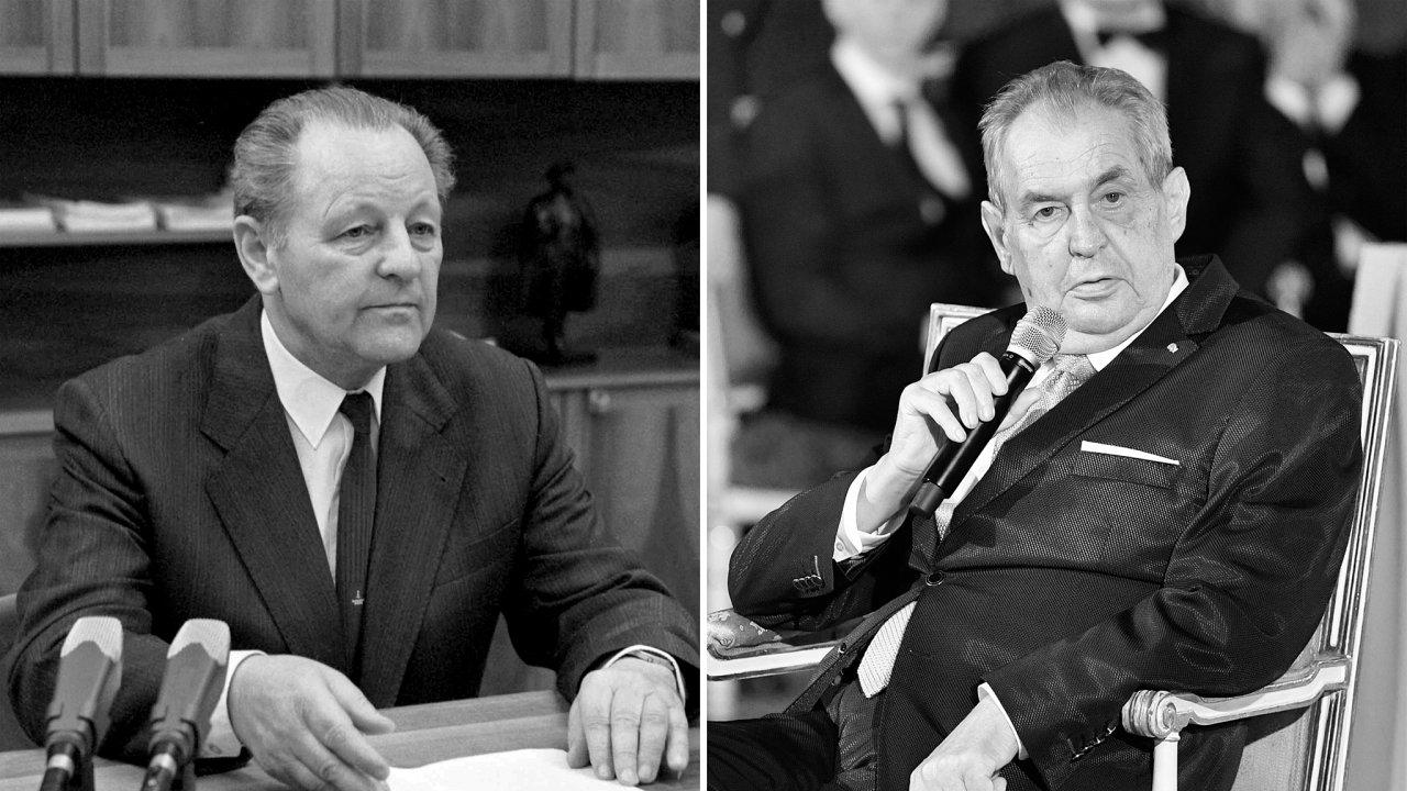 Generální tajemník KSČ Miloš Jakeš a prezident Miloš Zeman
