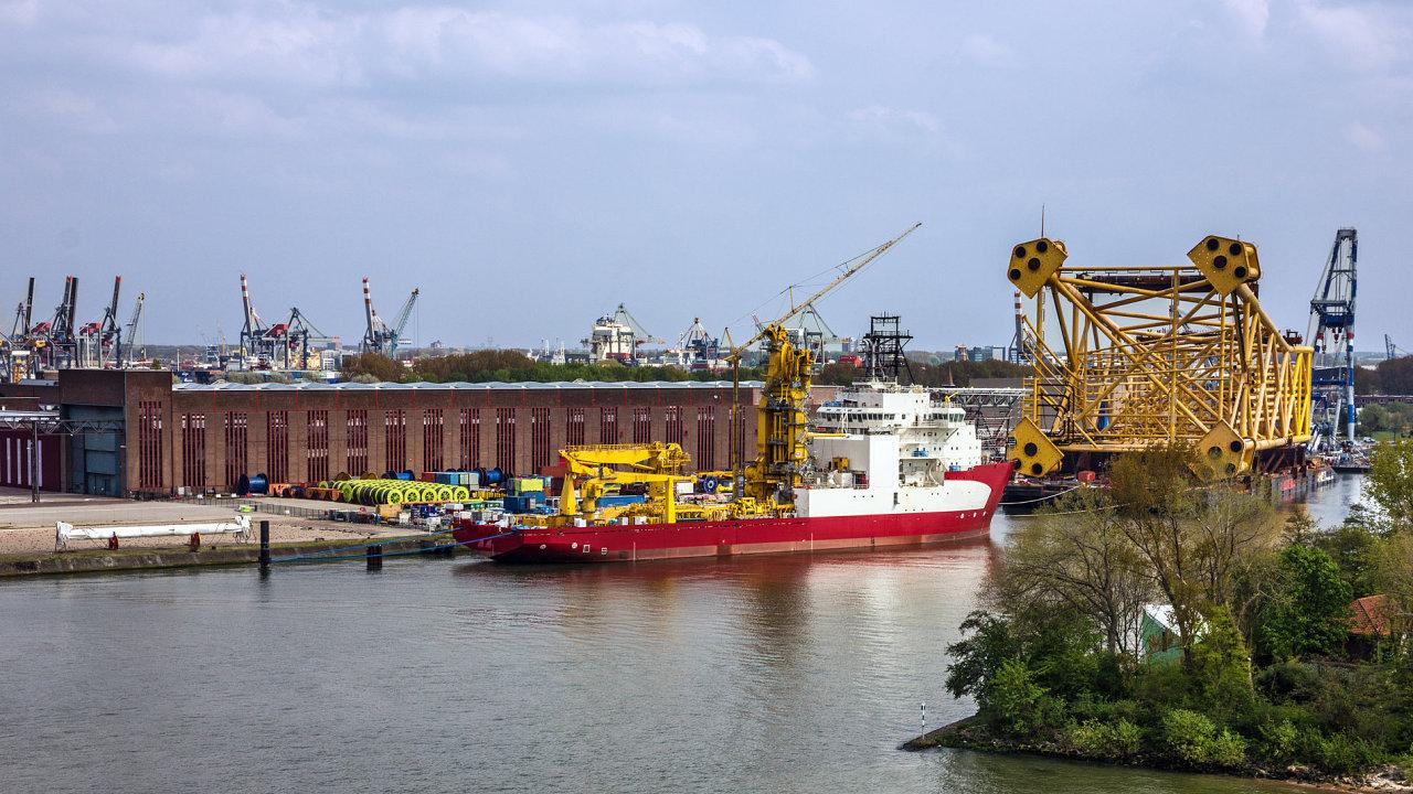 lodě, lodníci, přístav, Rotterdam, Nizozemsko