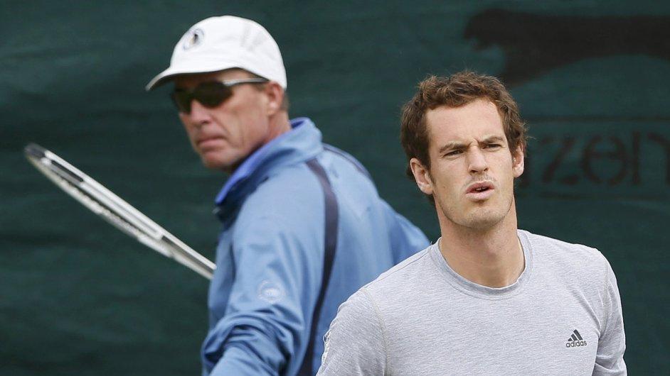 Andy Murray a Ivan Lendl při tréninku na Wimbledonu