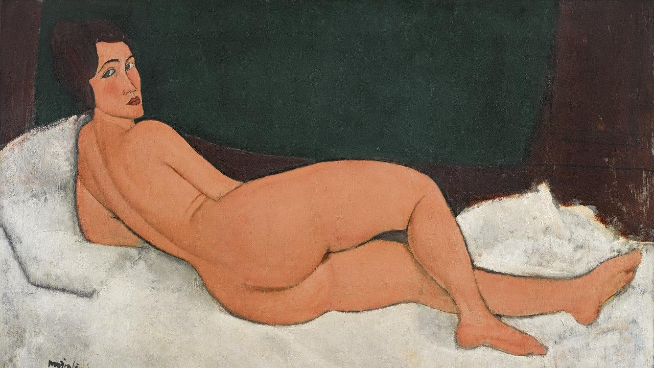 Obraz Amedea Modiglianiho Nu couché (sur le côté gauche) - Ležící akt (na levém boku).