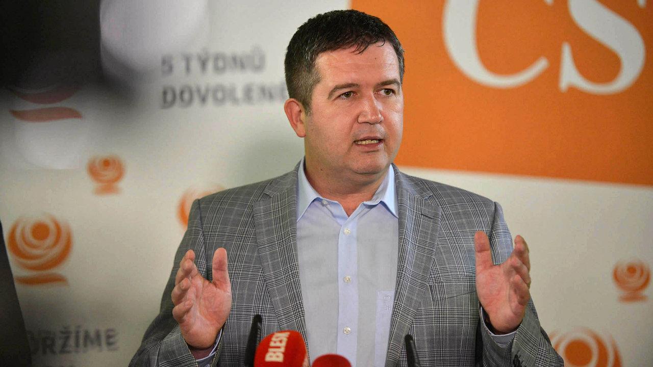 Předseda ČSSD Jan Hamáček navrhl sektorovou daň na koaliční radě.