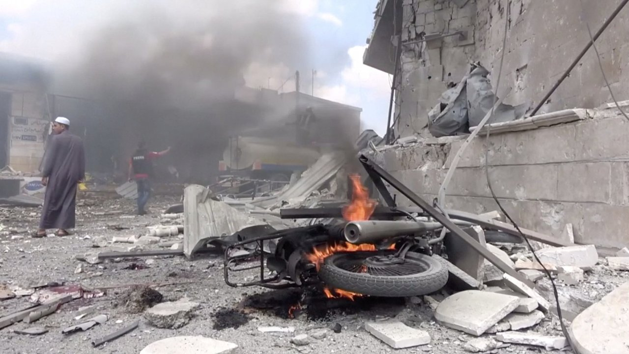 Sýrie, Idlib, nálet, 16. červenec 2019