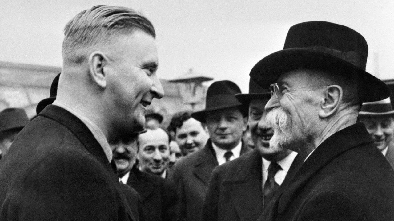 Jan Antonín Baťa na snímku s prvním československým prezidentem Masarykem.