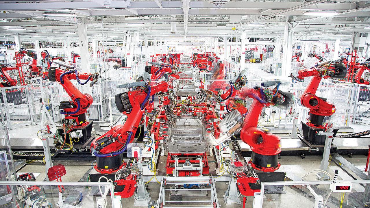 Výroba elektromobilů vtovárně Tesly