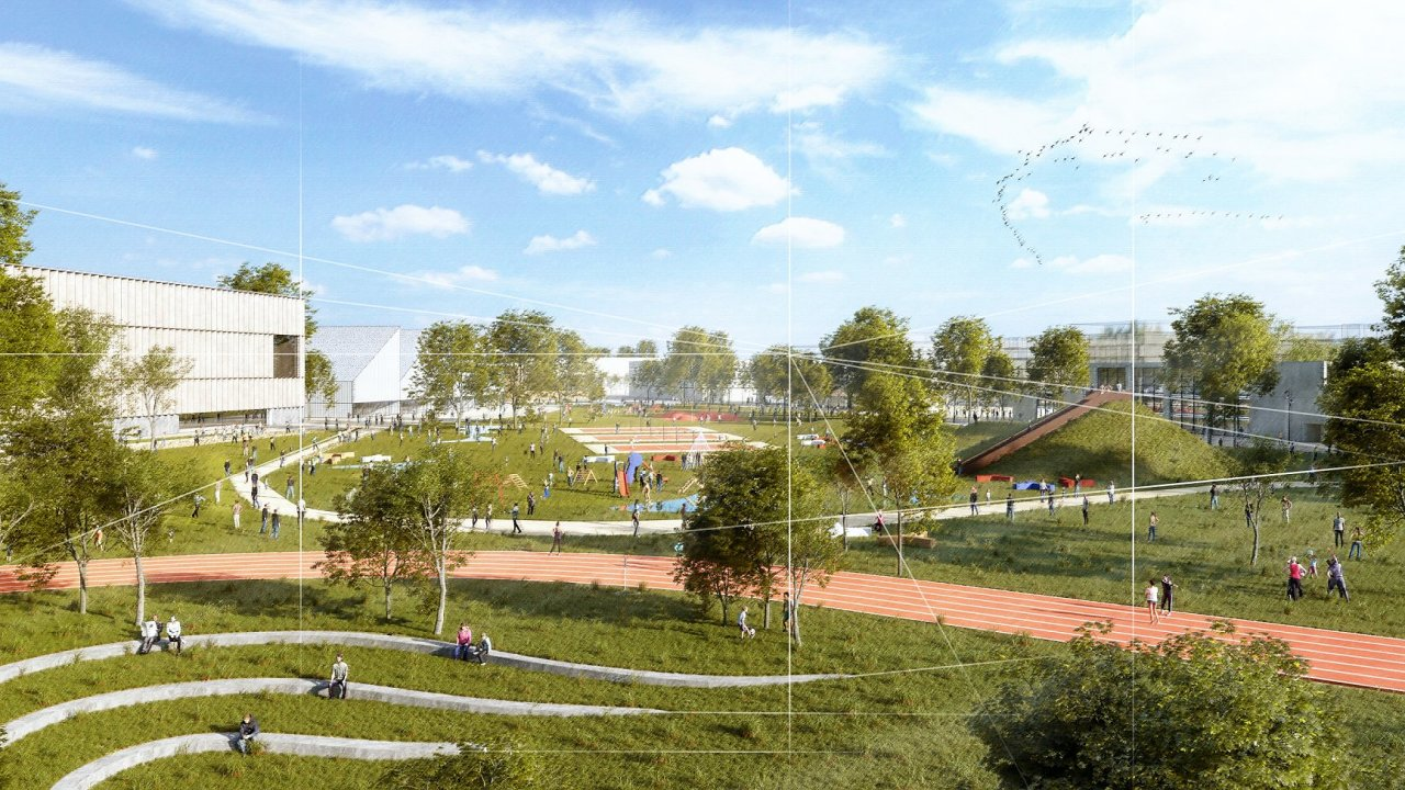 Na pozemcích stávajícího sportovního letiště v pražských Letňanech vznikne nová městská čtvrť (na vizualizaci). Během příštích desetiletí by na ploše měly vyrůst nejprve park, následně i čtvrť s bydle
