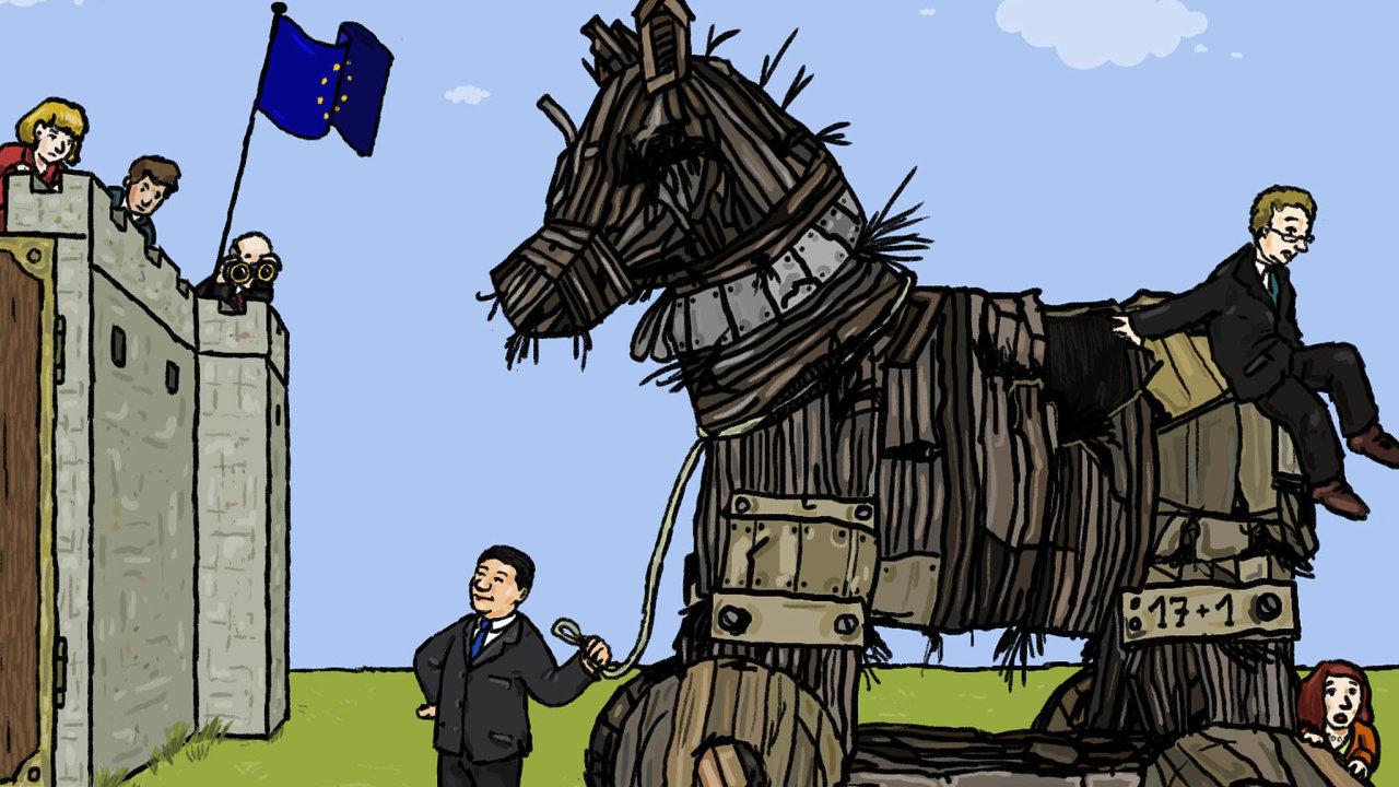 Analogie strojským koněm. Evropská unie se znepokojením sleduje, jak se Čína spomocí uskupení 17+1, sdružujícího země střední avýchodní Evropy, snaží vpašovat najejí území své zájmy.
